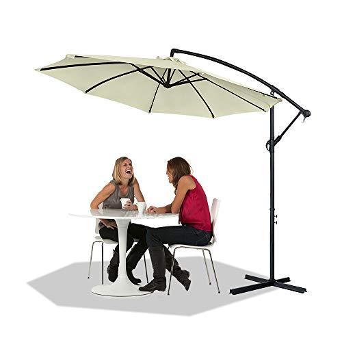 NAIZY Alu Sonnenschirme Sonnenschutz Gartenschirm Höhenverstellbarer Ampelschirme mit kurbel Balkonschirm UV40+ für Balkon, Garten, Tarasse (Ø300 cm, Beige)