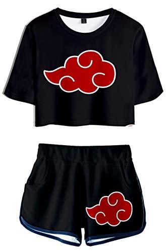 HAOSHENG Mädchen Damen Anime Naruto Casual Crop Top T-Shirts und Shorts Uchiha Street Fashion 2 Stück Set(XS)
