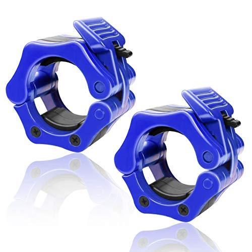 バーベルカラー 2個セット バーベルクリップ ダンベルカラー バーベルプレート止め シャフト用 スクリューシャフト対応 (ブルー, 50)