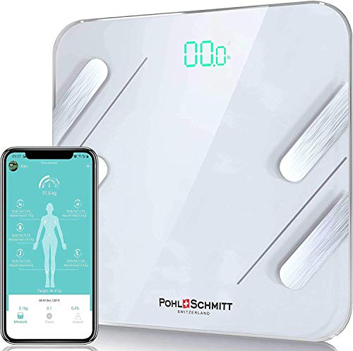 Pohl Schmitt Body Fat Bathroom Scale, Smart Digital Scale Tracks 13 Key Compositions, 8mm-Thick Glass, Syncs with All Phones, 400 lbs