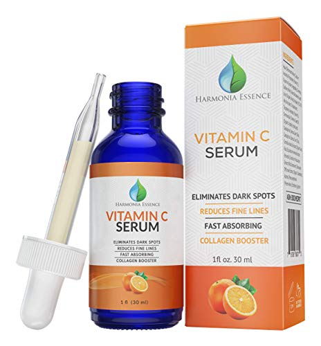 Harmonia Essence Vitamin C Serum - Natural Face and Skincare Solution - Anti-Aging Formula, Tightens Pores - Reduces Age Spots, Sun Damage, Scars, Fine Lines, Facial Wrinkles, Dark Circles, and Acne