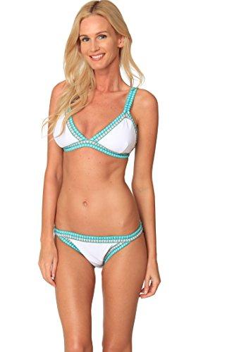INGEAR Triangle Swimsuit Fashion Bikini Set Beachwear Crochet Bathing Suits (Large, White)