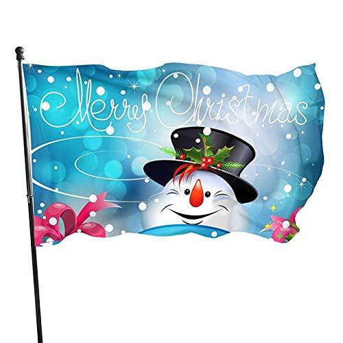 GOSMAO Bandera de jardín Feliz Navidad Muñeco de Nieve Color Vivo y Resistente a la decoloración UV Bandera de Patio de Doble Costura Bandera de Temporada Bandera de Pared 3x5 pies