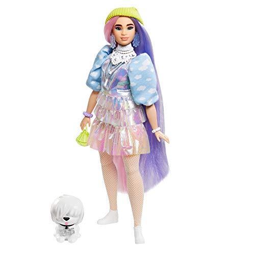 Barbie Extra muñeca con pelo rosado y violeta incluye mascota y accesorios (Mattel GVR05)