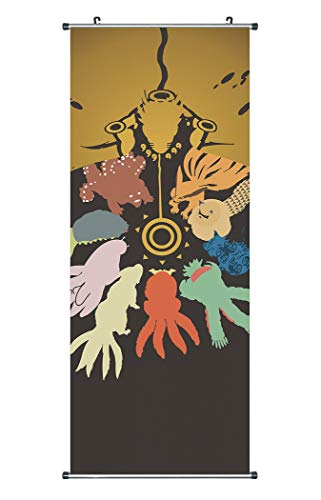 Anime Domain Großes Naruto Rollbild/Kakemono aus Stoff Poster, 100x40cm, Motiv:9 bijuu/Naruto