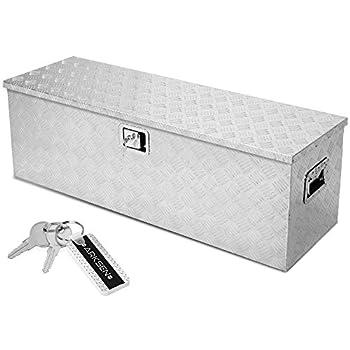 ARKSEN Aluminum Toolboxes 49  x 15  x 15  All Purpose Underbody Lock Storage Trailer Truck Trailer Chest Box Underbed Side Handle w/Key Set