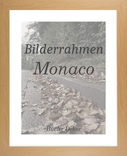 Homedeco-24 Monaco MDF Bilderrahmen ohne Rundungen 46 x 60 cm Größe wählbar 60 x 46 cm Buche mit Acrylglas Antireflex 1 mm