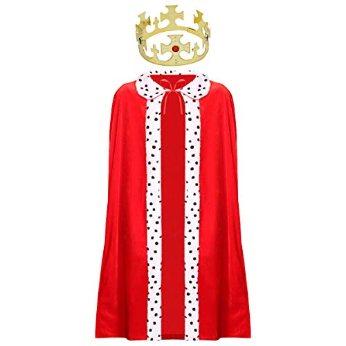 ADULTS KING COSTUME - RED VELOUR KING'S ROYAL ROBE + GOLD CROWN WITH JEWELS - PRINCE'S ROBE CAPE & CROWN FANCY DRESS COSTUME SET FOR MEN (SIZE: STANDARD)