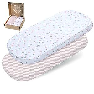 2 sábanas bajeras mimaDu® para minicuna, cuna de colecho, cochecito, funda capazo universal (80x35 a 90x50 cm) – Sábanas 100% algodón OEKO-Tex colchón de bebé (rosa, blanco, gris, estrellas y rayas)