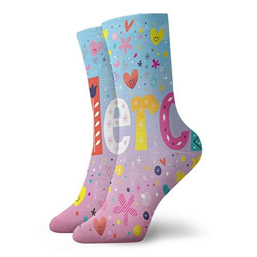 Calcetines suaves de media pantorrilla, diseño francés de Parisienne Merci Thank You Gratitude con estampado de corazones, flores, calcetines para mujeres y hombres, ideales para correr