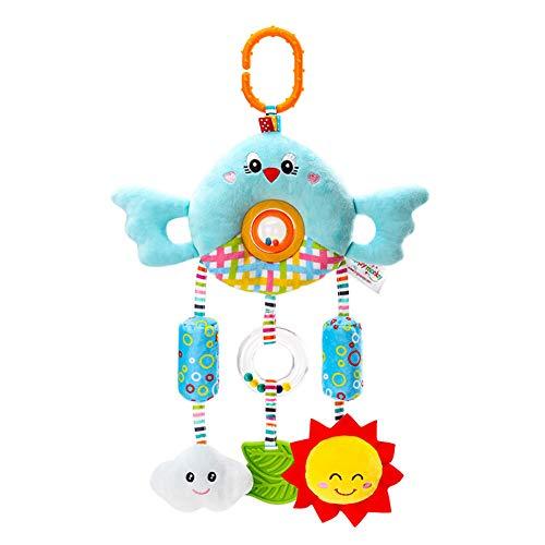 Metermall Home babybed wandelwagen opknoping windbell pop rammelaar hanger cartoon dier knuffel voor pasgeboren baby blauwe vogel
