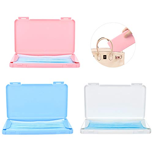 MoKo Maske Aufbewahrungsbox, 3 Pack Tragbare Maskenbox Wiederverwendbar Masken Etui Staubdichte Mundgesichtsabdeckung Box Maskenverschmutzung Vermeiden für Outdoor Reise - Pink & Blau & Weiß