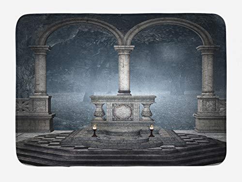 ABAKUHAUS gótico Tapete para Baño, Estilo Romano Altar de Piedra, Decorativo de Felpa Estampada con Dorso Antideslizante, 45 cm x 75 cm, Gris Azulado