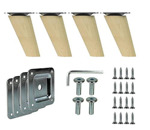 4 x drewniane nogi szafki z litego drewna ukośne lub proste stożkowe nóżki meblowe prima-online_de (ukośne [8 cm])