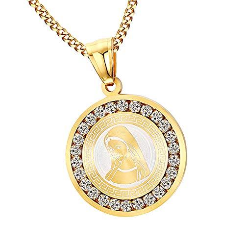 Haisiluo - Collar con Colgante de Medalla de Acero Inoxidable con diseño de la Virgen María Oval/Redondo/Rectángulo para Hombre y Mujer