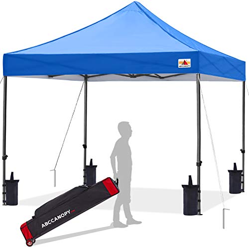 ABCCANOPY Pop up Canopy Tent Commercial Instant Shelter with Wheeled Carry Bag, Bonus 4 Canopy Sand Bags, 8x8 FT (Blue)