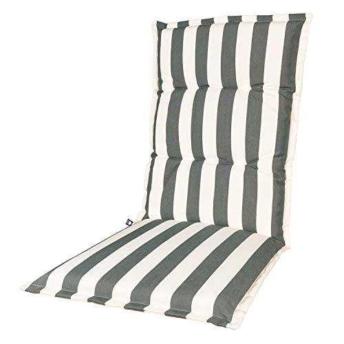 KOPU® Auflage für Hochlehner Mila Grey   Polster für Gartenstühle   Grau Garten Kissen 125 x 50 cm   5 Gestreifte Robuster Schaumstoff für zusätzlichen Komfort