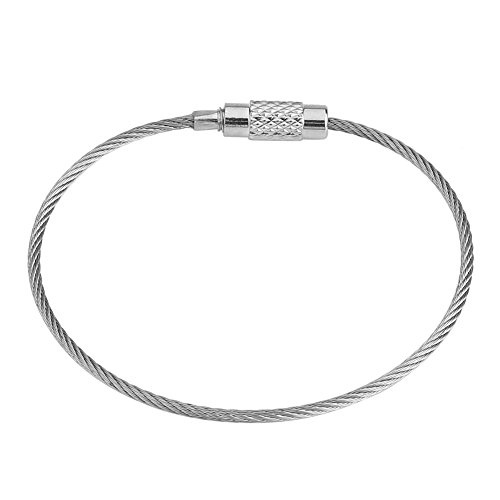 Portachiavi in acciaio inox, 60 pezzi da 1,5 mm, 6 pollici, anelli per cavi per aeromobili, per appendere etichette per bagagli o targhette identificative, confezione da 60 pezzi, colore: argento