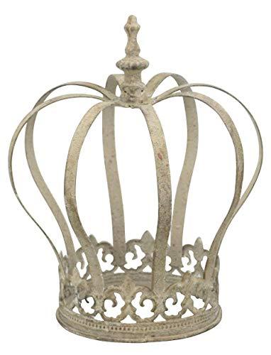 Posiwio dekorative Garten Krone Dekokrone Metall antikgrau Vintage Optik (klein ca. 19 x 21 cm hoch)