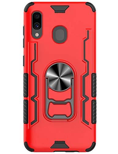 Compatible con Samsung Galaxy A30, carcasa de TPU suave de silicona + carcasa rígida de PC 2 en 1, carcasa flexible anticaídas, carcasa ligera y suave, carcasa protectora para teléfono móvil, carcasa magnética, anillo de soporte rojo Talla única