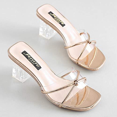 YYFF Zapatillas casa Hombre,Thick Heel Ladies Sandals,Sexy All-Match Slippers-Champagne_35,Sandalias Verano Antideslizante