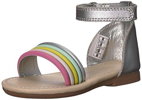 Carter's Gene Girl's Fashion Sandal, Silver, 6 M US Toddler