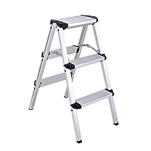 LRZLZY Schritt Hocker, Aluminium-Klappleiter, Ingenieurwesen mit Fischgrätmuster Schiebeleiter, Hausrolltreppe Stabilität und Sicherheit (Size : 3 Step)