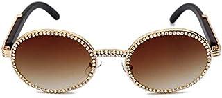 FRGTHYJ - FRGTHYJ - Gafas de sol para hombre y mujer, diseño vintage con diamantes de imitación Uv400 marrón marrón