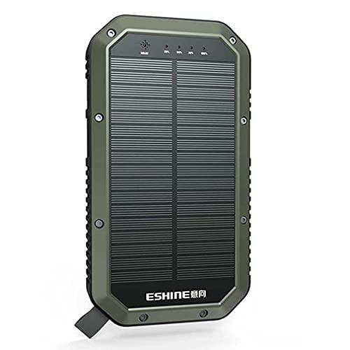 YODZ Charger De Teléfono Solar 20000Mah Power Bank (5V / 350MA), Cargador Inalámbrico Solar Portátil Impermeable con IPX5 con Luces De Camping LED De Alta Potencia Y 3 Puertos De Salida,Verde