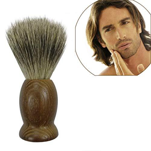 Rameng Hommes Brosse de Barbe, Blaireau Rasage Pinceau Nettoyage pour Homme Barbier Coiffeur (Marron)