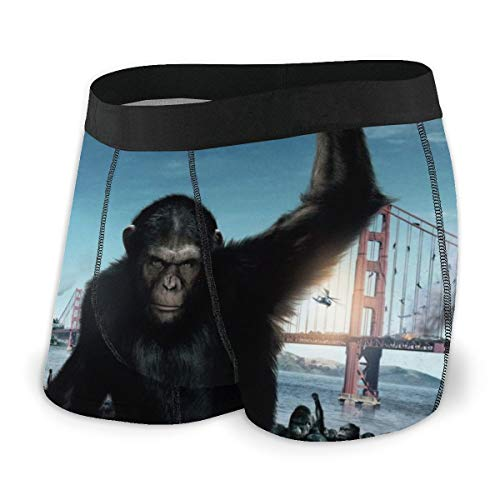 SJPillowcover Rise of The Planet of The Apes - Calzoncillos tipo bóxer para hombre (fibra de poliéster), diseño estampado, color negro