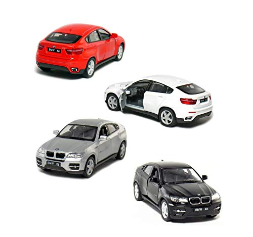 Set of 4: 5' BMW X6 SUV 1:38 Scale (Black/Red/Silver/White)
