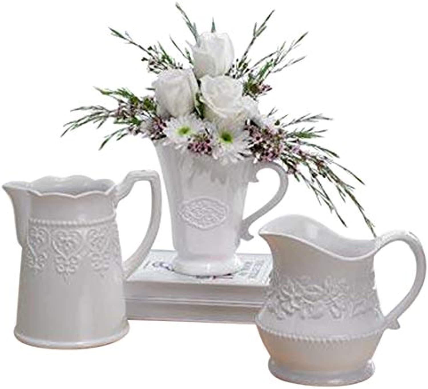 Decorative Floral Classic White 7 x 4 Glossy Ceramic Pitchers Set of 3