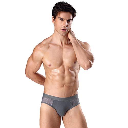 HUABEI Men's Triangle Modal Ice Mesh Hole Breathable Underwear A-1 Youth Middle Waist Sports Sexy Underwear A-1 Men's briefsA-1grayA-1XXL Z1