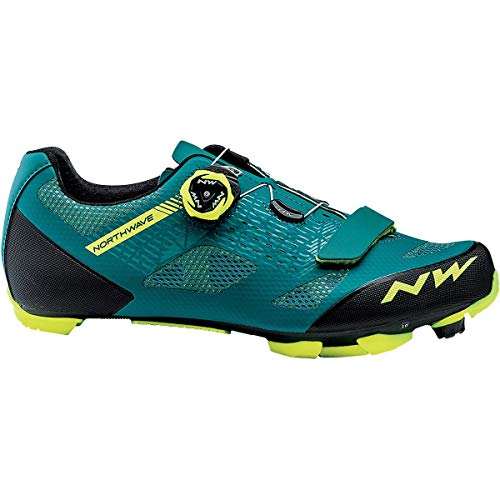 Northwave Razer Mountain Bike Shoe - Men's Green/Yellow Fluorescent, 44.0