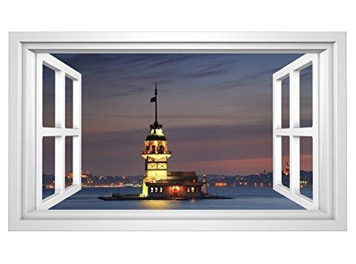 3D Wandmotiv Moschee Istanbul Türkei Fenster Bildfoto Wandbild Wandsticker Wandtattoo Wohnzimmer Wand Aufkleber 11E311, Wandbild Größe E:ca. 168cmx98cm