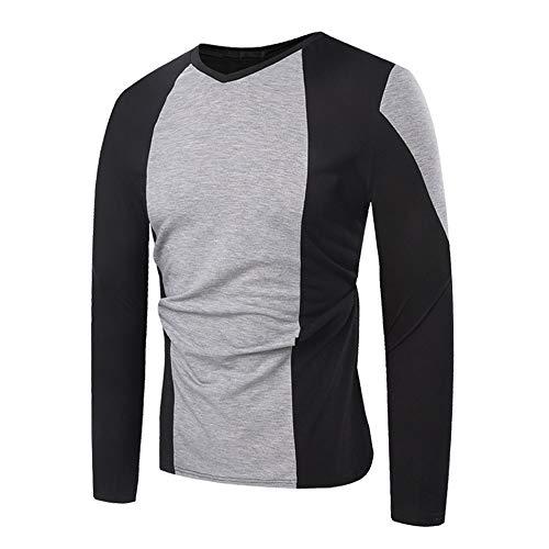Coloré(TM) T-Shirt Homme,Automne Manches Longues Patchwork Pull Sweat Top T-Shirt en Plein Air Blouse (M, Gris)