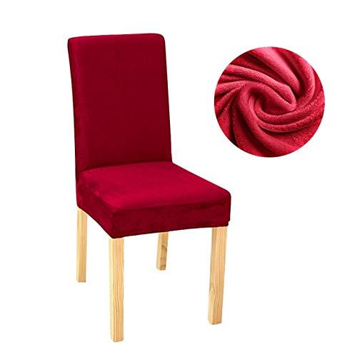 ASVNDD Stuhlabdeckung Stretch Dining Slipcovers Spandex Plüschschutz Für Haus Esszimmer (Color : Wine red, Specification : Universal)