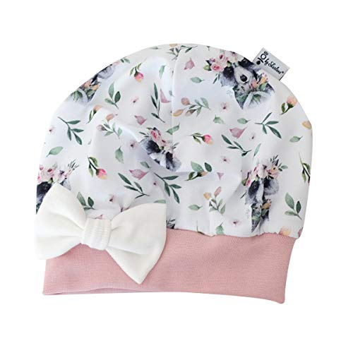 Baby Mütze Waschbär Rose - Schleife Weiss Baby Mütze Mädchen Beanie Mitwachsgrößen Größe 38-44, 45-49, 50 und 51 (38-44)
