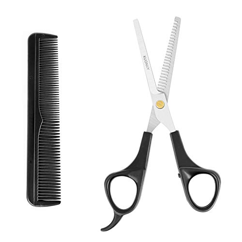 KUONIIY Tijeras de adelgazamiento de peluquería de acero inoxidable, tijeras profesionales de corte de pelo para peluquería, hogar, 6.5 pulgadas, peine
