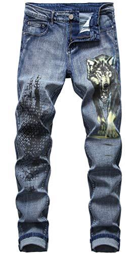chouyatou Men's Cool Stylish Wolf Pattern Print Regular Fit Distressed Stretch Denim Jeans Pants (32, Blue)