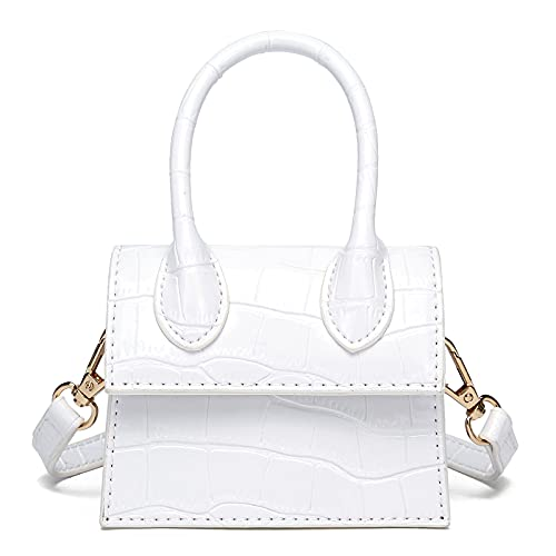 CATMICOO Mini Purse for Women, Trendy Mini Bags and Tiny Handbag with Crocodile Pattern (White crocodile pattern)