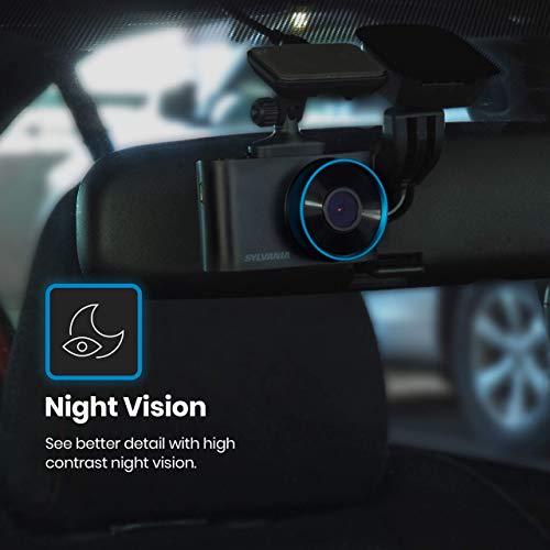 SYLVANIA - Roadsight Plus Dash Camera - 120 Degree View, HD 1080p, 16GB SD Memory Card Included, Loop Recording, G-Sensor, 2 inch LED IPS Screen, Parking Mode, Night Vision, Mobile App, Taxi, Car