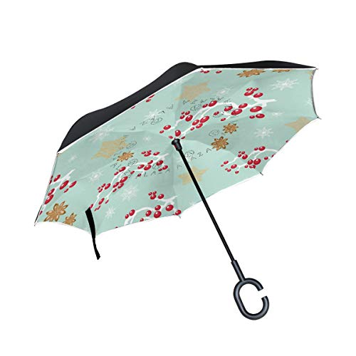 Regenschirm mit Kirsch-Muster, doppelschichtig, umgekehrter Regenschirm, wasserdicht, winddicht, groß, gerade, Polyester, für Sonne und Regen, Outdoor, mit C-förmigem Griff
