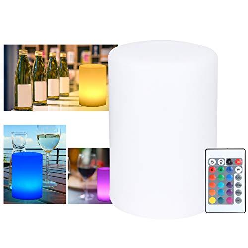 RBSD Luz Nocturna cilíndrica, Brillo Ajustable, 16 Colores, IP60, Impermeable, ecológica, Modos Ajustables, lámpara cilíndrica, para restaurantes, hoteles, Clubes nocturnos, Bares