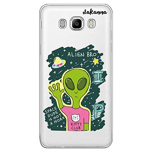 dakanna Custodia Compatibili con [Samsung Galaxy J7 2016] Sfondo Trasparente con Disegni [Amico Alieno] in Morbida Silicone TPU Flessibile, Shell Case Cover in Gel per Smartphone