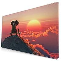 マウスパッド 象と犬は山の上に座る 超大型 ゲーミングマウスパッド おしゃれ 防水 滑り止め 耐久性が良い