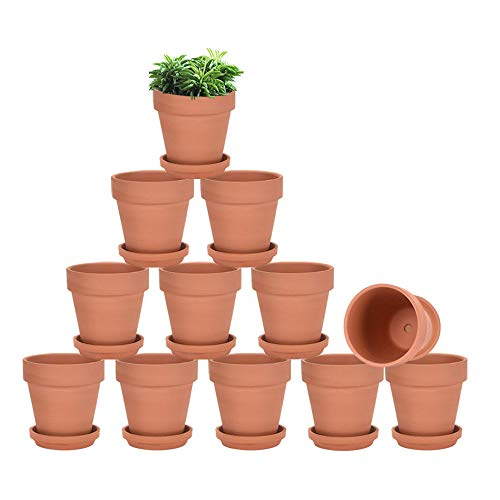 vensovo Terracotta Pots with Saucer - 9 Pack 3 Inch Clay Pot Ceramic Pottery Planter Cactus Flower Pots Succulent Pot Drainage Hole, Great for Plants, Crafts, Wedding Favor