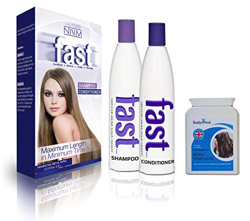 FAST Shampoo and Conditioner 300ml - NO SLS/PARABENS + Body4Real Biotin High Dose Food Supplement