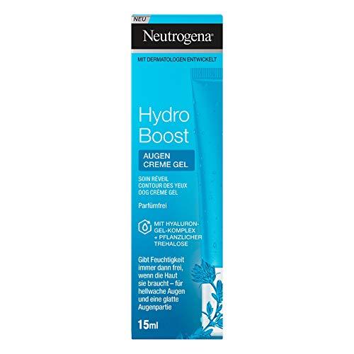 Neutrogena Hydro Boost Belebendes Augen Creme Gel, erfrischendes Augencreme Gel mit pflegendem Hyaluron Gel Komplex und pflanzlicher Trehalose (2 x 15 ml)